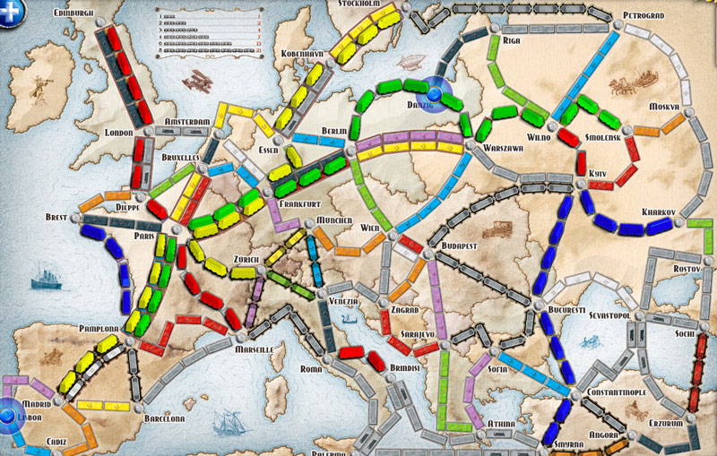 Online Ticket to Ride Europe Map
